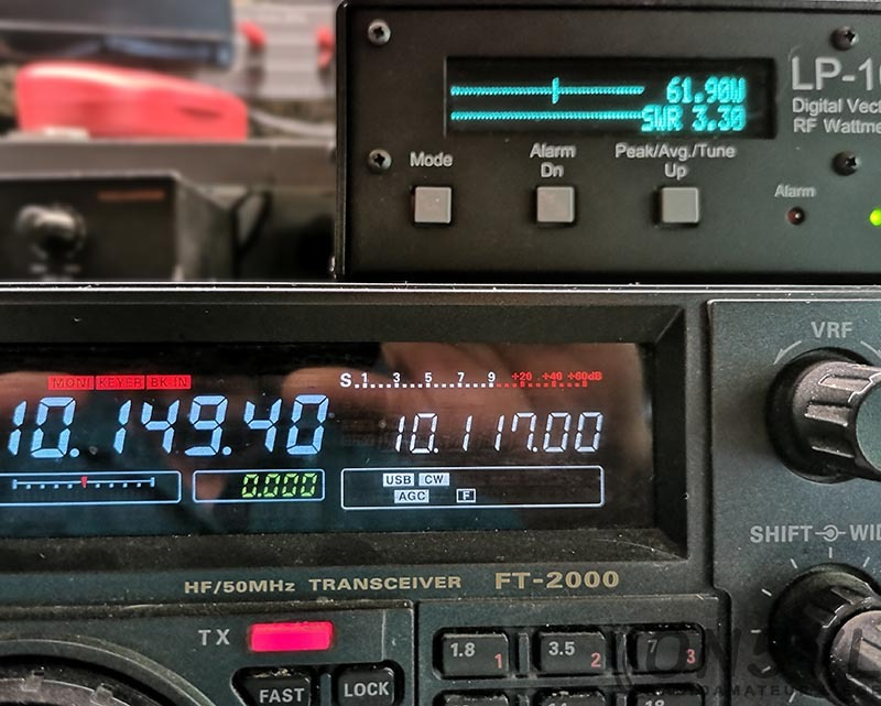 10.149 Mhz = ROS 3,30:1  Il faut absolument un Tuner d'antenne sur cette bande